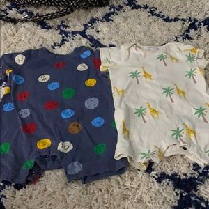 Set of 2 Hanna Anderson Baby Short Rompers